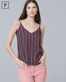 Petite Reversible Stripe/Floral-Print Cami | Tuggl