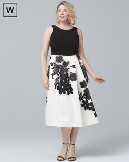 White House Black Market Plus Exploded Floral Fit-and-Flare Dress at White House | Black Market in Sherman Oaks, CA | Tuggl