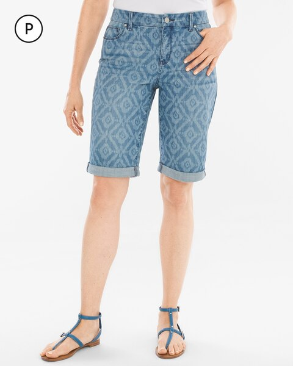 So Slimming Petite Diamond Ikat Girlfriend Shorts