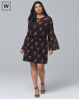 Plus Bell-Sleeve Printed Soft Dress | Tuggl