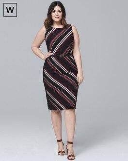 Plus Sleeveless Stripe Knit Sheath Dress | Tuggl