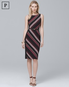 Petite Sleeveless Stripe Knit Sheath Dress | Tuggl