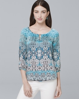 Split-Sleeve Tile-Print Blouse | Tuggl