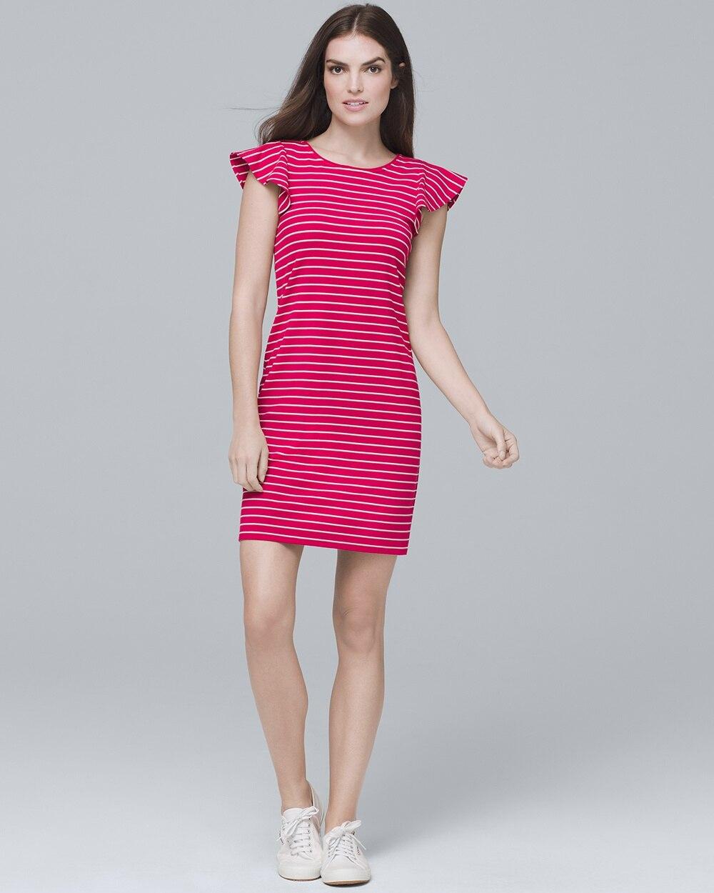 6ecc07cf28 Flounce-Sleeve Stripe Knit Shift Dress - White House Black Market