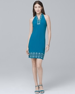 Sleeveless Embellished Knit Shift Dress | Tuggl