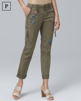 Petite Embroidered Slim Crop Jeans | Tuggl