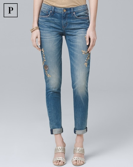 Petite Embroidered Girlfriend Jeans