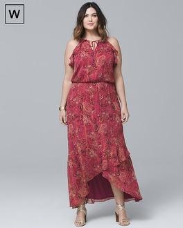 Plus Paisley-Print High-Low Maxi Dress | Tuggl