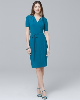 Short-Sleeve Knit Wrap Dress | Tuggl