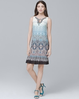 Embellished-Neck Ombre Shift Dress | Tuggl