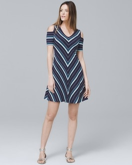 Cold-Shoulder Knit Trapeze Dress | Tuggl