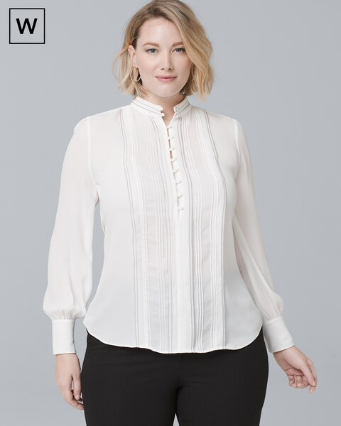 f274f7b0adaf46 Plus Pintucked Button-Front Blouse - White House Black Market