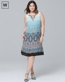 Plus Embellished-Neck Ombre Shift Dress | Tuggl