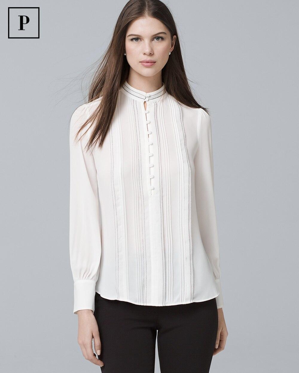 c584418516549d Petite Pintucked Button-Front Blouse - White House Black Market
