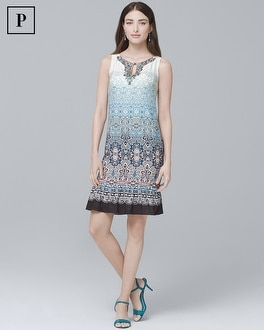 Petite Embellished-Neck Ombre Shift Dress | Tuggl