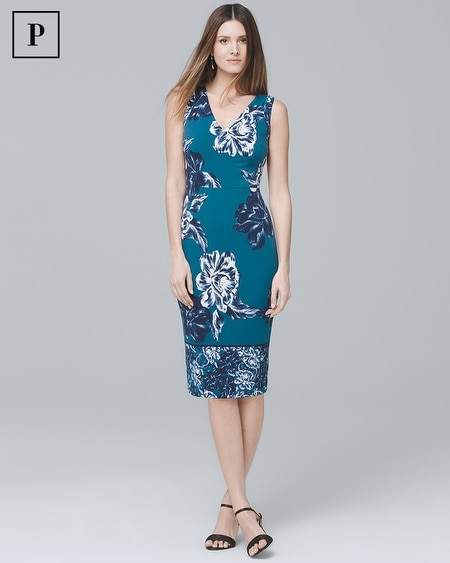 Petite Floral Knit Sheath Dress