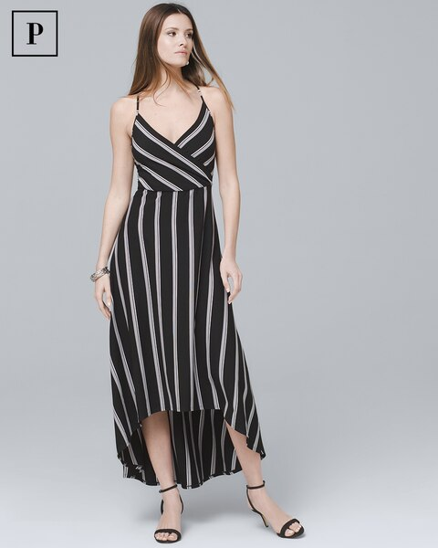 672411c6c00 Return to thumbnail image selection Petite Stripe High-Low Maxi Dress video  preview image