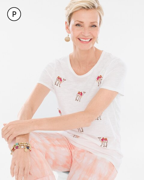 Petite Embroidered Camel Tee