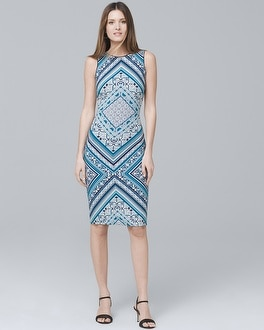 Reversible Scarf-Print Knit Sheath Dress | Tuggl