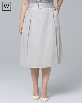Plus Pleated Faux Wrap Midi Skirt by Whbm