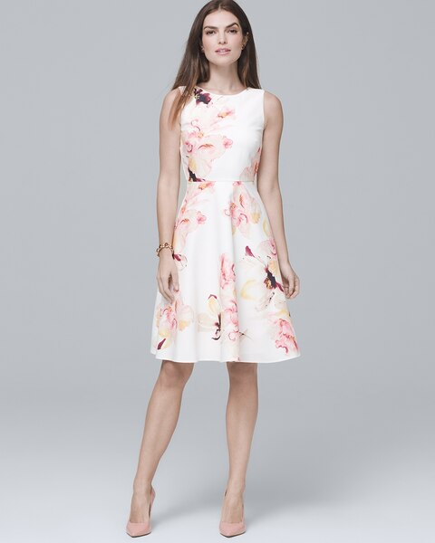 c7fa495354f Exploded Floral Fit-and-Flare Dress - White House Black Market