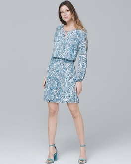 Split-Sleeve Paisley Soft Blouson Dress | Tuggl