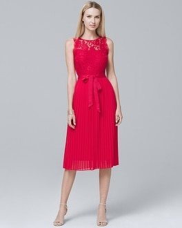 Lace-Bodice Pleated Fit-and-Flare Dress | Tuggl
