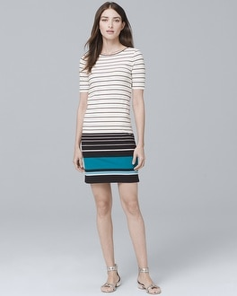 Short-Sleeve Stripe Knit Shift Dress | Tuggl