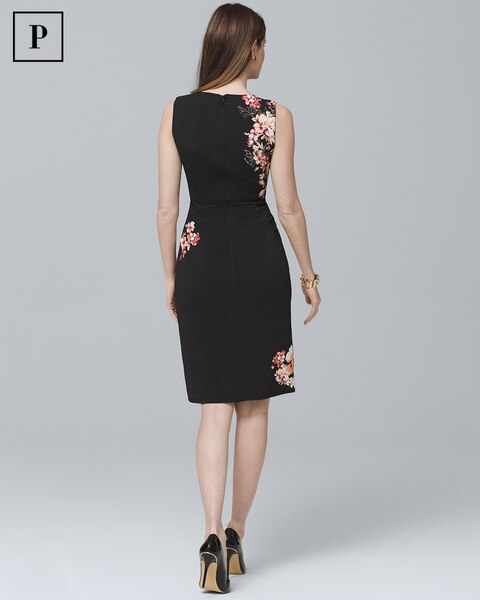 57578d47 Return to thumbnail image selection Petite Floral Twist-Detail Knit Sheath  Dress