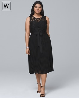 Plus Lace-Bodice Black Pleated Fit-and-Flare Dress | Tuggl