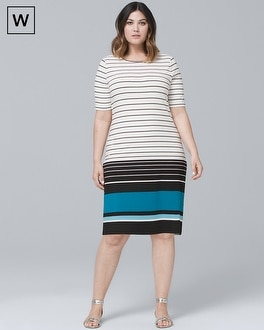 Plus Short-Sleeve Stripe Knit Shift Dress | Tuggl