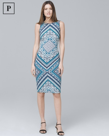 Petite Reversible Scarf-Print Knit Sheath Dress