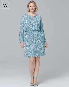 Plus Split-Sleeve Paisley Soft Blouson Dress | Tuggl