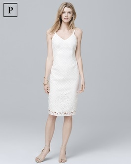 Petite Sleeveless White Lace Sheath Dress | Tuggl