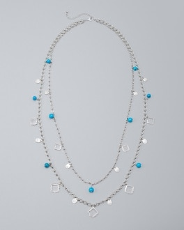 Howlite Charm Long Station Necklace | Tuggl