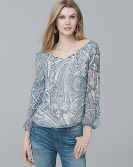 Paisley Off-the-Shoulder Blouse | Tuggl