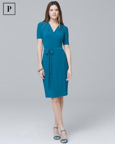 Petite Short-Sleeve Knit Wrap Dress