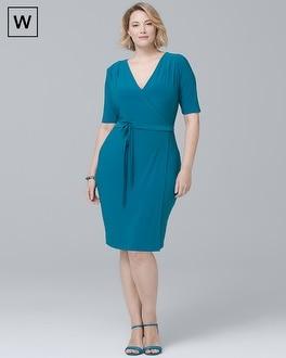 Plus Short-Sleeve Knit Wrap Dress | Tuggl