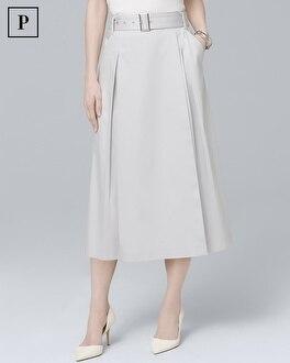 Petite Pleated Faux-Wrap Midi Skirt | Tuggl