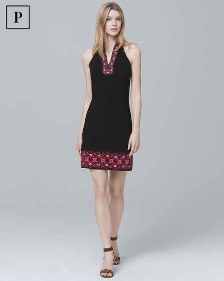 Petite Sleeveless Embellished Knit Shift Dress