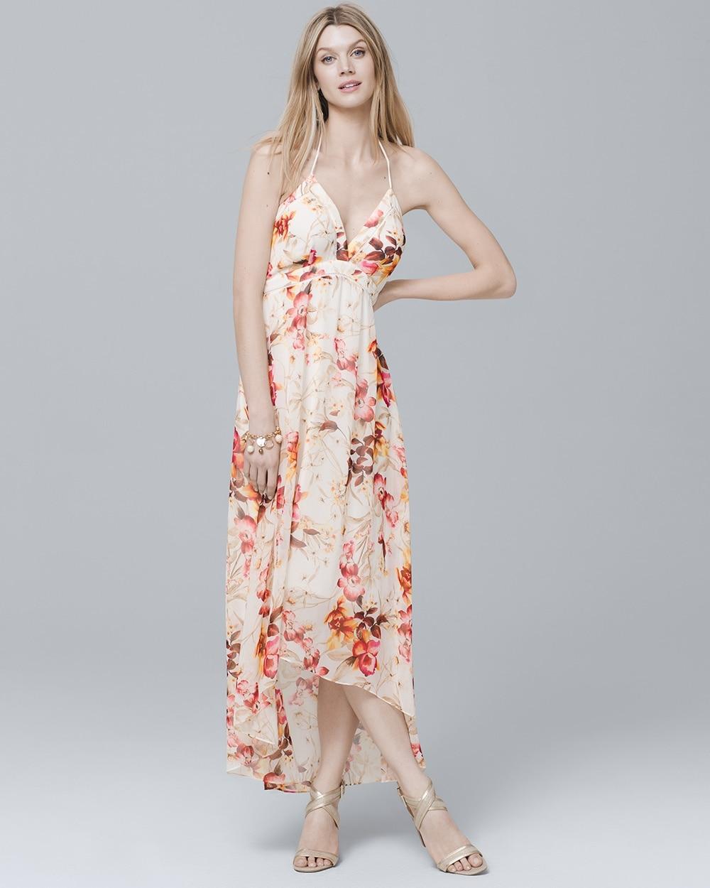 971512ce72a8b Halter Floral High-Low Maxi Dress