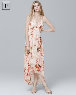 Petite Halter Floral High-Low Maxi Dress | Tuggl