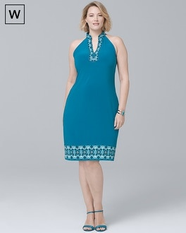 Plus Sleeveless Embellished Knit Shift Dress | Tuggl