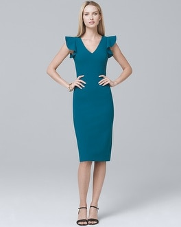 Body Perfecting Ruffle-Shoulder Sheath Dress | Tuggl