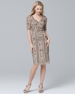 Short-Sleeve Beaded Sheath Dress | Tuggl
