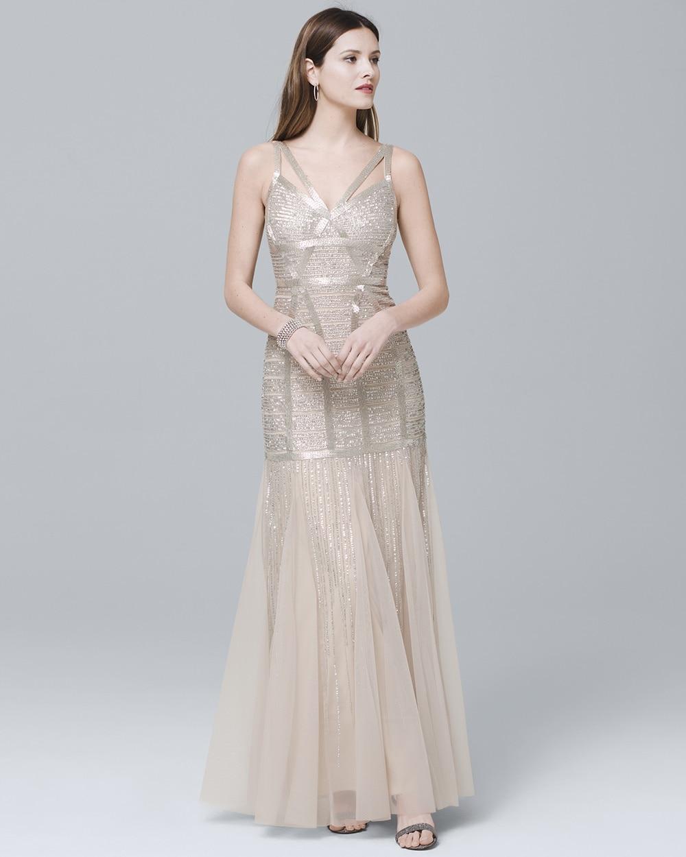Sleeveless Beaded Gown - White House Black Market