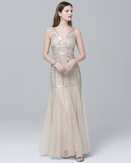 Sleeveless Beaded Gown | Tuggl