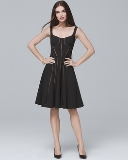 Ladder Stitch Black Fit-and-Flare Dress | Tuggl