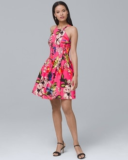 Printed Scuba Fit-and-Flare Dress | Tuggl