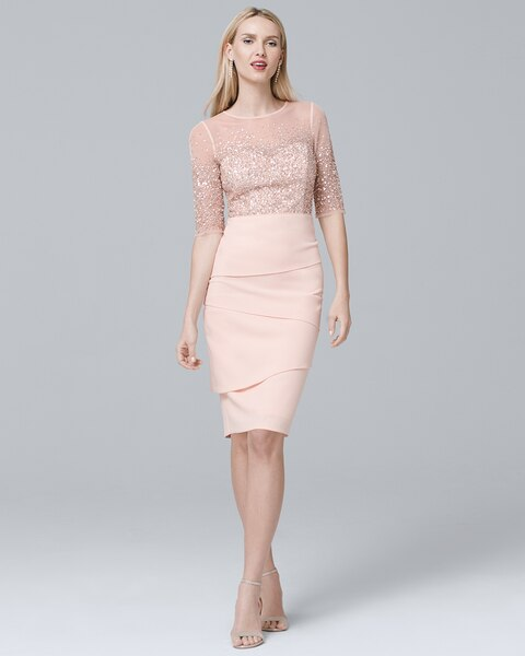 3d1f7c82 Return to thumbnail image selection Beaded-Bodice Sheath Dress video  preview image, click to start video